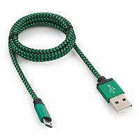 Кабель USB 2.0 Cablexpert CC-mUSB2gn1m, USB-MicroUSB, 1м, нейлоновая оплетка, алюм разъемы, зеленый
