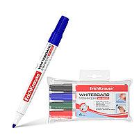 Маркер для досок ErichKrause® 12849 W-500 цвет чернил: черный синий красный зеленый (в футляре по 4 маркера)
