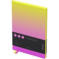 """Записная книжка А5 80л., кожзам, Berlingo """"Radiance"""", черный срез, желтый/розовый градиент"""