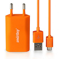 СЗУ SmartBuy SATELLITE Combo, USB+дата-кабель MicroUSB,1А,Soft-touch,оранжевое(SBP-2650)/60