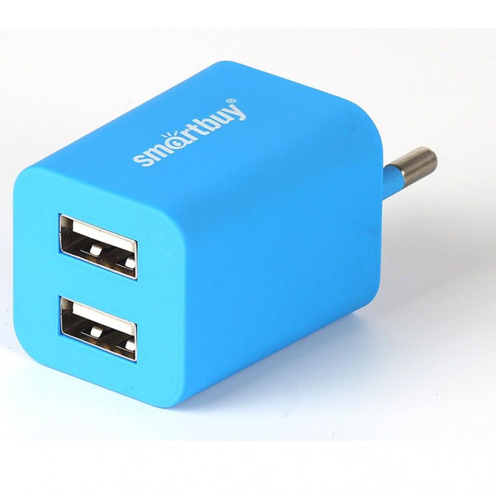 СЗУ SmartBuy TRAVELER, 2*USB, 2А, Soft-touch, синее  (SBP-3100)/60