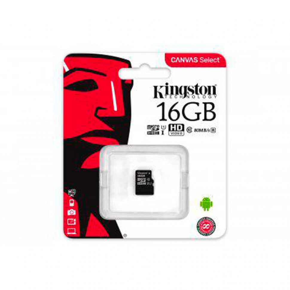 Карта памяти MicroSD 16GB Class 10 U1 Kingston SDCS/16GBSP