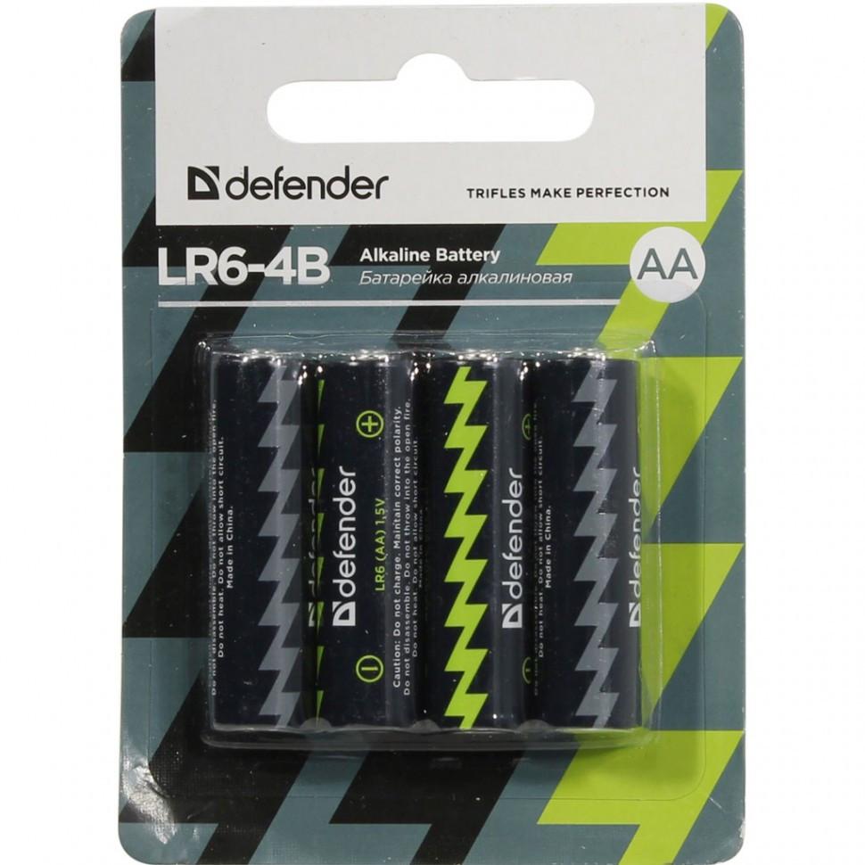 Элемент питания LR6-AA Defender Alkaline LR6-4B - 4штуки в блистере