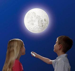Лампа-ночник настенная «Луна» с пультом управления {питание от батарей, имитация фаз Луны}