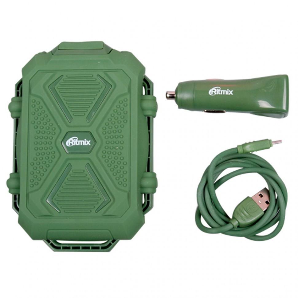 Зарядное устройство автомобильное RITMIX RM-3499DC green + Power Bank 10 000mAh