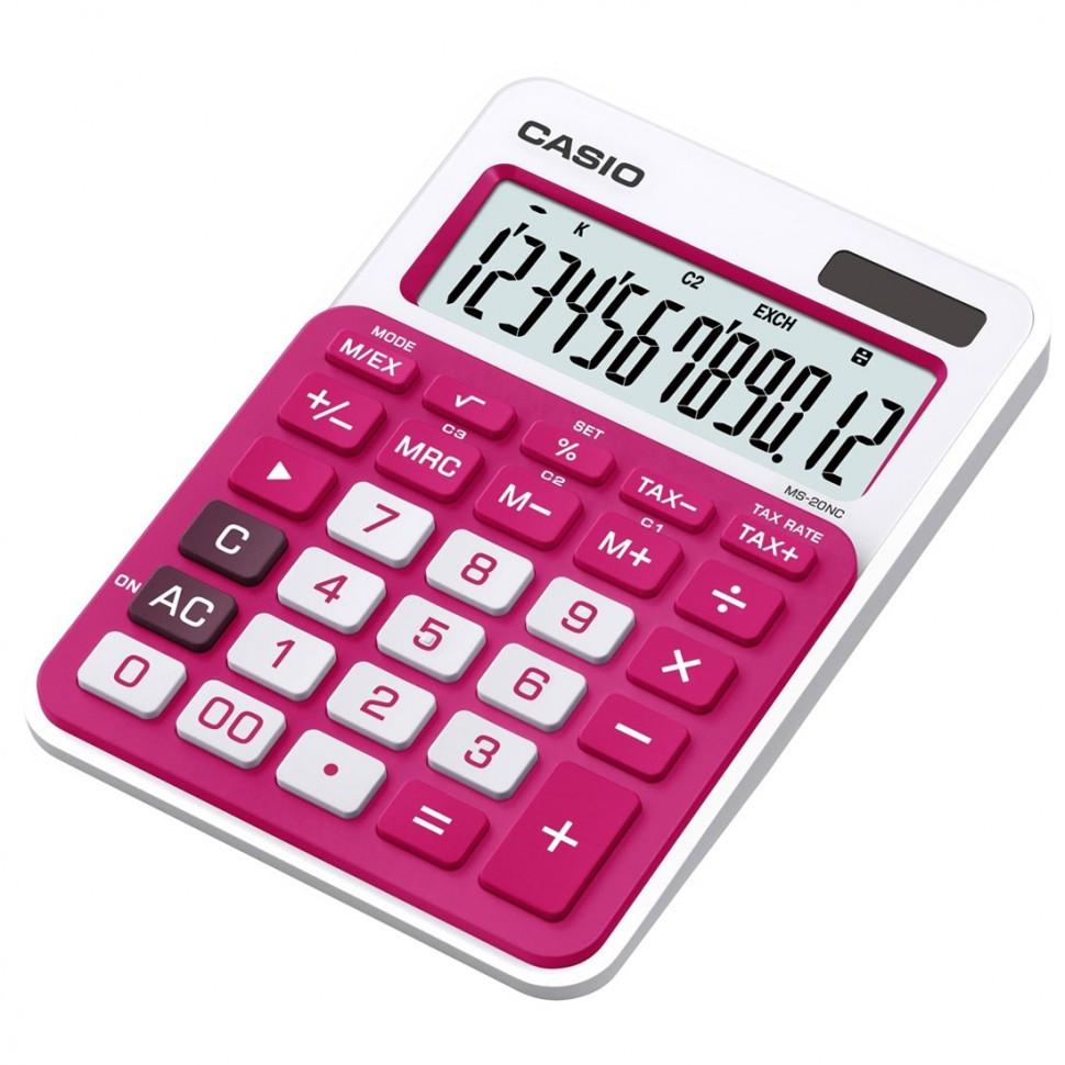 Калькулятор настольный CASIO, MS-20NC-RD-S-EC, красный
