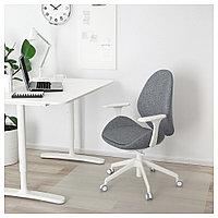 ХАТТЕФЬЕЛЛЬ Рабочий стул с подлокотниками, Гуннаред классический серый, белый, Гуннаред классический серый/бел, фото 1