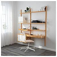СВАЛЬНЭС Рабочее место – комбинация, бамбук, белый, бамбук/белый 150x35x176 см, фото 1