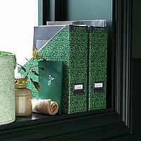 ФЬЕЛЛА Подставка для журналов, зеленый, цветочный орнамент