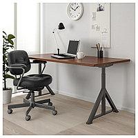 ИДОСЕН Письменный стол, коричневый, темно-серый, коричневый/темно-серый 160x80 см