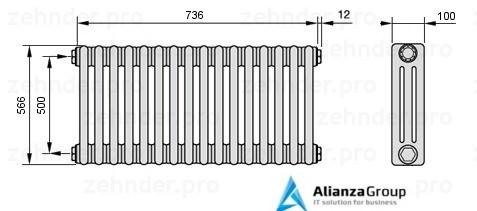 Стальной трубчатый радиатор 2-колончатый Zehnder 2056/10