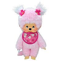 Мончичи 20 см девочка с розовой шерсткой  в слюнявчике сакура (Мончичи 20 см девочка с розовой шерсткой в слюнявчике сакура)