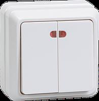 ВС20-2-1-ОБ Выключатель 2кл с инд. 10А ОКТАВА (белый)