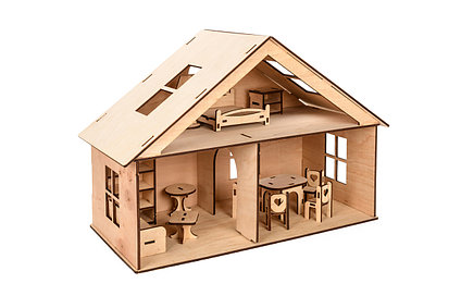 Маленький кукольный домик с мебелью