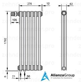 Стальной трубчатый радиатор 2-колончатый Zehnder Charleston 2180/6 TL