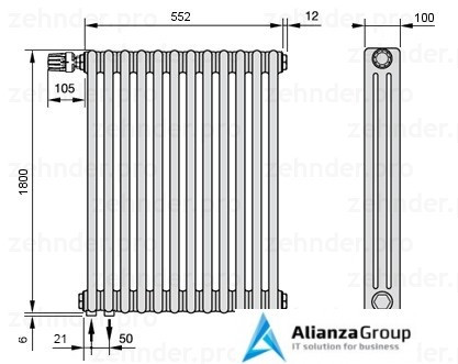 Стальной трубчатый радиатор 2-колончатый Zehnder 2180/8 Completto