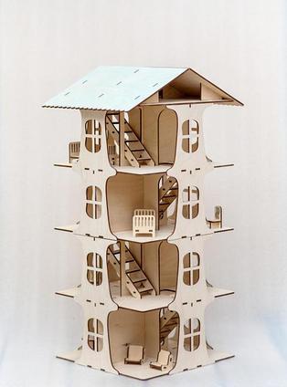 Многоэтажный кукольный домик в компплете с мебелью
