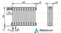 Стальной трубчатый радиатор 2-колончатый Zehnder Completto 2056/10