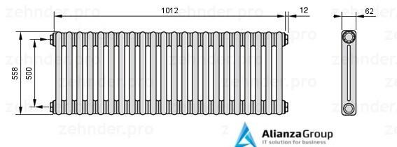 Стальной трубчатый радиатор 3-колончатый Zehnder 3057/20