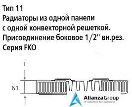 Стальной панельный радиатор Тип 11 Kermi FKO 11 400x2000