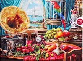 """Картины стразами на подрамнике """"Натюрморт с граммофоном и фруктами"""" 30х40 см  СТРАЗЫ КРУГЛЫЕ"""