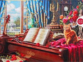 """Картины стразами на подрамнике """"Кот на рояле"""" 30х40 см  СТРАЗЫ КРУГЛЫЕ"""