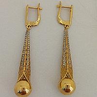 Золотые серьги с шаром / жёлтое золото