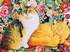 """Картины стразами на подрамнике """"Коты в цветах"""" 30х40 см  СТРАЗЫ КРУГЛЫЕ"""