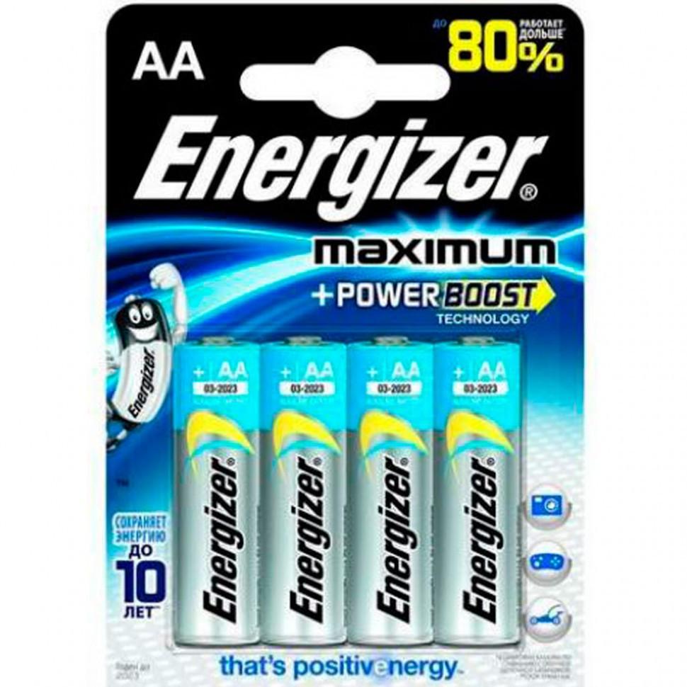 Элемент питания LR6 AA Energizer MAXIMUM  Alkaline 4 штуки в блистере