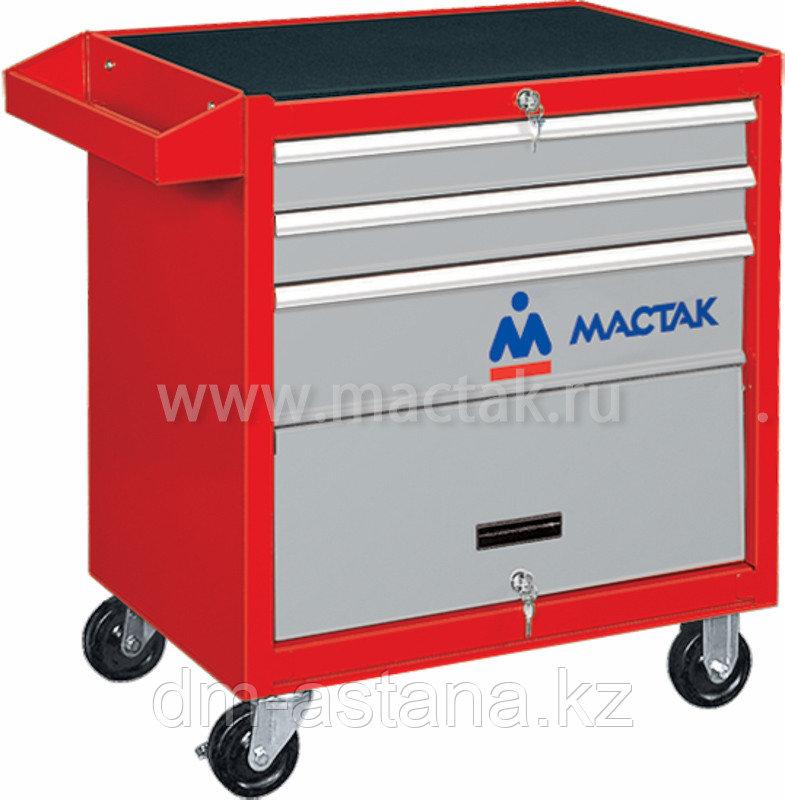 МАСТАК Тележка инструментальная, 3 ящика и отсек, красная МАСТАК 522-03581R