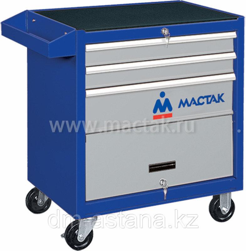 МАСТАК Тележка инструментальная, 3 ящика и отсек, синяя МАСТАК 522-03581B