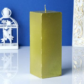 Свеча-квадрат парафиновая, золотая, 5,6х5,6см, Н=15см