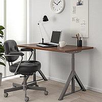 ИДОСЕН Письменный стол, коричневый, темно-серый, коричневый/темно-серый 120x70 см