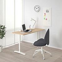 БЕКАНТ Письменный стол, дубовый шпон, беленый, белый, дубовый шпон, беленый/белый 140x60 см, фото 1