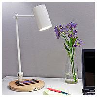 РИГГАД Лампа/устройст д/беспровод зарядки, белый, белый