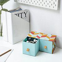 ЛАНКМОЙ Мини-комод с 2 ящиками, голубой, разноцветный, фото 1