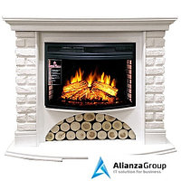 Электрокамин (очаг+портал) Royal Flame Village кирпич белый с очагом Dioramic 25 FX