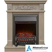 Электрический камин с обогревом Real-Flame Adelaida STD/EUG WT с очагом Fobos s Lux BL/BR, Majestic s Lux BL/BR