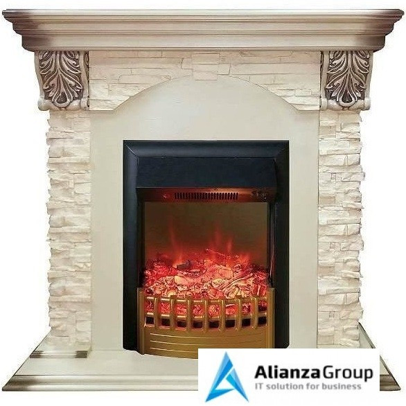 Электрический пристенный камин Real-Flame Dublin LUX STD/EUG WT с очагом Rimini