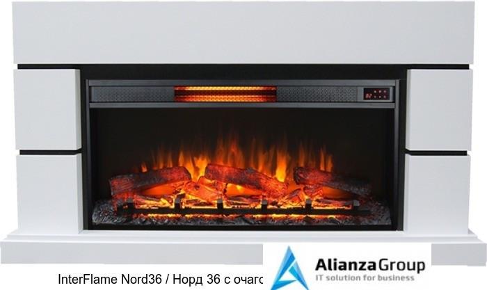 Деревянный камин (портал+очаг) InterFlame Nord36 / Норд 36 с очагом Foton 36K08-GLX