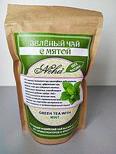 Чай зеленый  листовой с мятой . NEHA .Green tea with MINT .100гр. Индия
