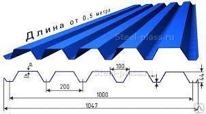 Профнастил оцинкованный С-44, 1000 мм 0,7 мм