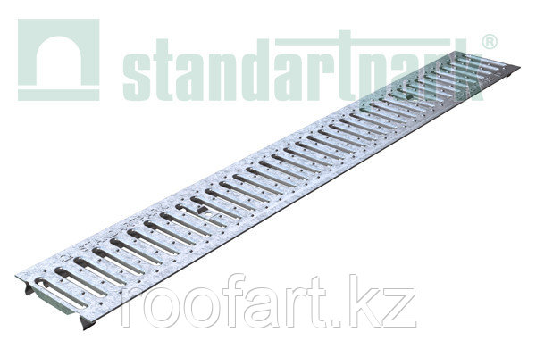 Лоток водоотводный -10.14,5.5,5-пластиковый со штампованной решеткой