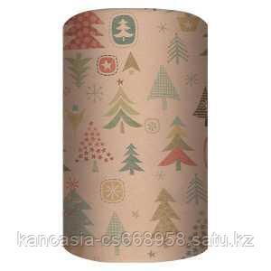 Non-branded Упаковочная крафт бумага, Лесные Ели, 70*150 см.
