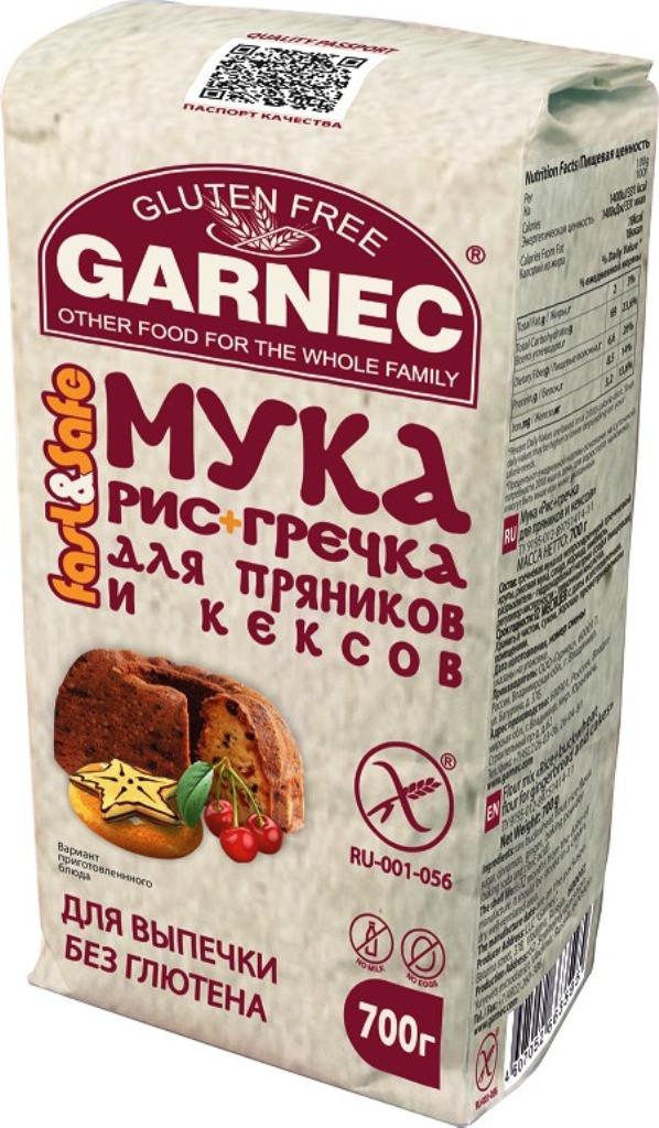 Мука Гарнец «Рис+гречка» для пряников и кексов без глютена, 700гр