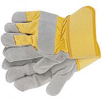 Перчатки спилковые комбинированные, усиленные, размер XL Сибртех