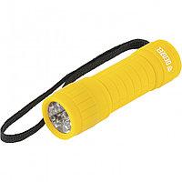 Фонарь светодиодный, желтый корпус с мягким покрытием, 9 Led, 3хААА Denzel