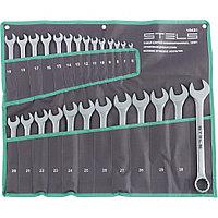 Набор ключей комбинированных 6-32 мм, 26 шт, CrV, матовый хром Stels