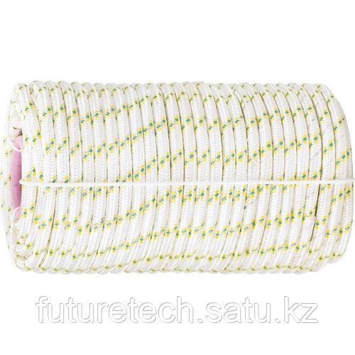 Фал плетеный капрон с сердечником, 16-прядный, 8 мм, бухта 100 м, 1000 кгс Россия Сибртех