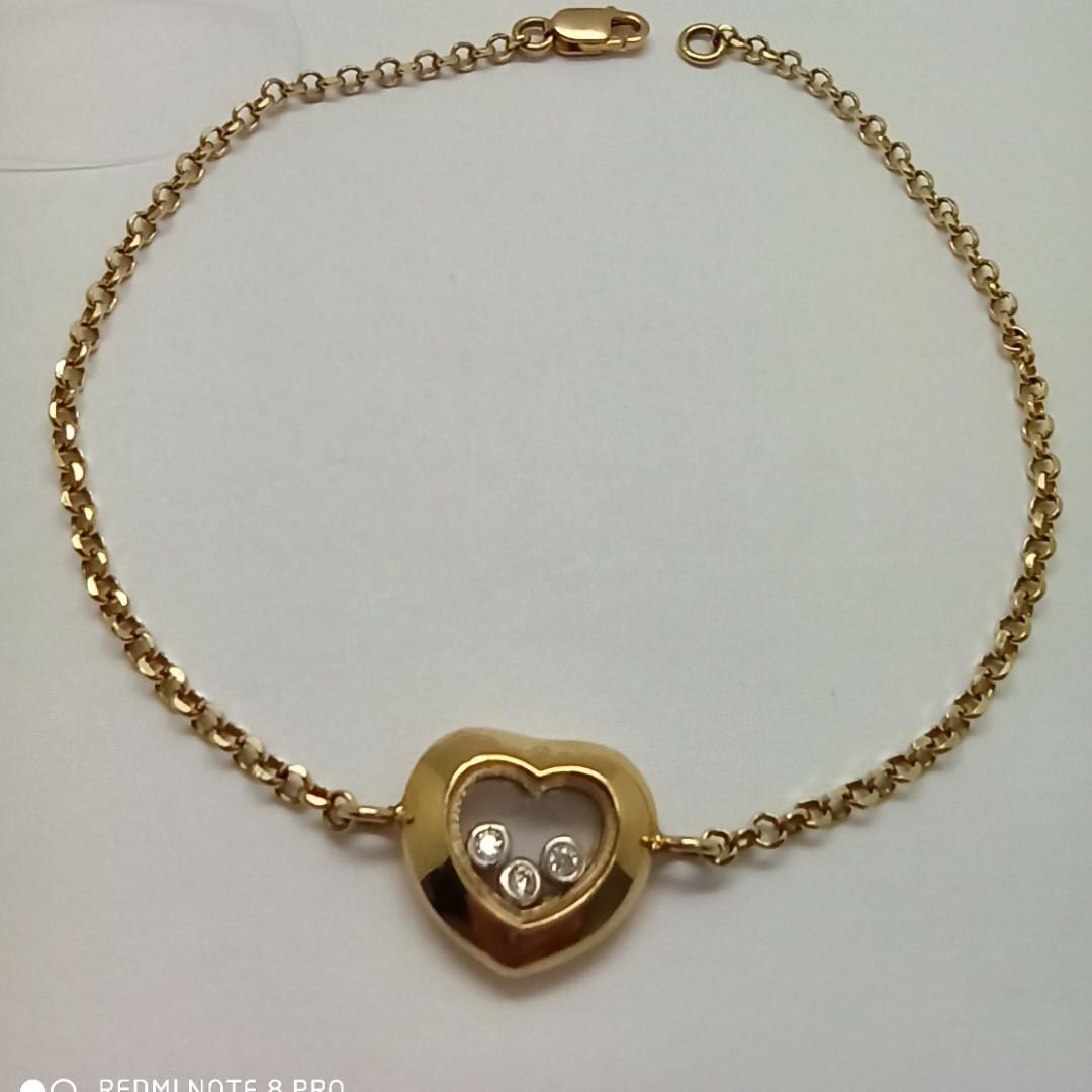"""Золотой браслет """"Сердце"""""""